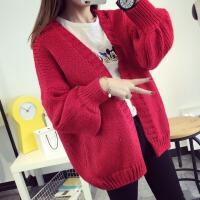 2017秋装中长款泡泡袖毛衣开衫外套冬季新款冬装韩版秋季女装上衣jyl 红色 均码