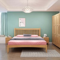 【限时直降3折】北欧日式极简实木床条格背