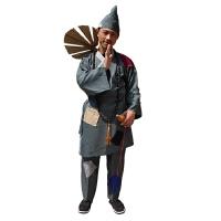 济公演出服 济公表演服装 叫花子影视服古装演出服装济公活佛 灰色+帽子+胡芦+�分�+扇子