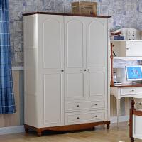 尚满 儿童卧室家具地中海系列 简易三门衣柜衣橱 板式多功能储物衣柜 平开门式 儿童三门衣柜
