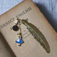爱丽丝梦游仙境兔子周边饰品复古金色羽毛书签生日圣诞节礼物金属