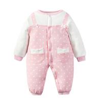 婴儿连体衣服0岁3个月女宝宝新生儿衣服冬季棉衣哈衣秋季6秋冬装