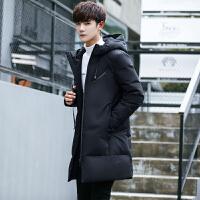 男款羽绒服冬季中长款加厚青年学生男式羽绒衣服黑色带帽男装外套
