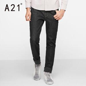以纯A21男生春季2017新款裤子男学生深色男士加绒牛仔裤男直筒青年潮