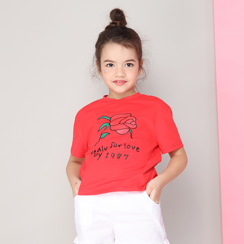 米奇丁当女童短袖T恤夏装2018新款玫瑰中大儿童印花圆领半袖体恤