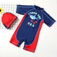 儿童泳衣男童 宝宝婴儿游泳衣中小童游泳裤连体泳装带帽防晒 小鲨鱼连体