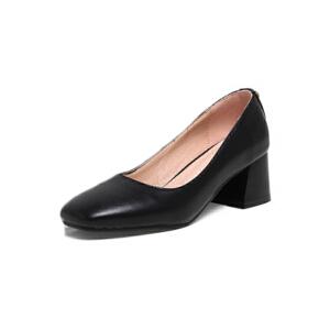 ELEISE美国艾蕾莎新品020-H02欧美超纤皮中跟粗跟女士单鞋