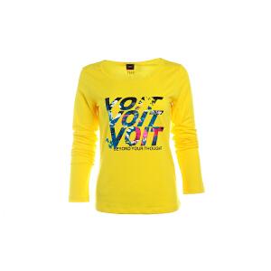 沃特正品休闲运动服女速干圆领长袖跑步运动T恤女春秋季健身上衣