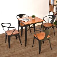 欧式铁艺实木餐椅简约休闲椅靠背椅子 奶茶店咖啡厅酒吧桌椅组合