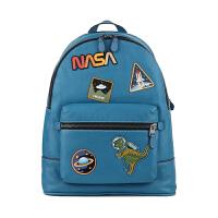 【网易考拉】【李易峰同款】COACH 蔻驰 男士SPACE系列太空图案贴布双肩包 蓝色