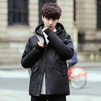 男士处理羽绒服男冬季连帽韩版青年修身纯色时尚加绒保暖男装外套