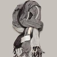 秋冬新韩版情侣围巾男士黑白流苏撞色格子文艺围巾披肩