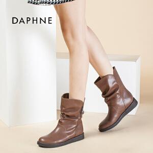 Daphne/达芙妮冬款正品平底圆头侧拉链加厚中筒靴