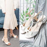【毅雅】夏季新款甜美粗跟凉鞋女蝴蝶结中跟一字扣带鱼嘴女鞋 YL7WB2207