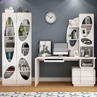 家具电脑桌台式家用简约现代书桌书架组合卧室书房写字台桌子 左书台 两门书柜 书椅 主机架