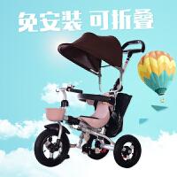 儿童三轮车脚踏车1-3岁轻便可折叠宝宝手推自行车充气轮
