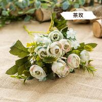仿真花玫瑰水仙康乃馨尤加利单支假花客厅婚庆装饰花插花拍摄场景 明亮黄 白色茶玫单支