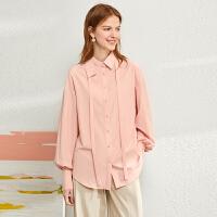【券后预估价:144元】Amii极简法式复古泡泡袖衬衫女2020春季新款宽松衬衣翻领绑带上衣