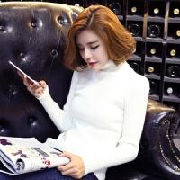 韩版秋冬女装长袖针织衫套头修身显瘦高领加厚纯色打底衫毛衣 白色