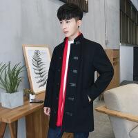 毛呢大衣男中长款青年新款呢大衣男修身外套男风衣 黑色