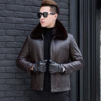 冬装新款中年男士真皮皮衣夹克外套男可脱卸狐狸毛领黄金兔毛内胆