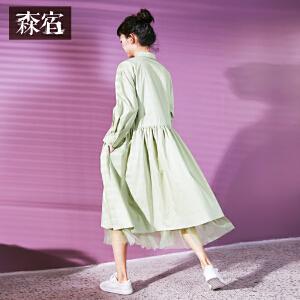【尾品价172】森宿37度季风春装2018新款文艺半开式门襟长袖连衣裙女