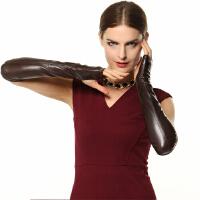 新款大气羊皮手套女士时尚露指长款丝滑薄里真皮手套/总长40 可礼品卡支付