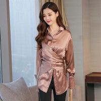清新唯美长袖中长款纯色韩版气质可爱2018年春季衬衫