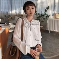 2018夏季新品宽松纯色大蝴蝶结打底衫立领长袖雪纺衬衣女 白色