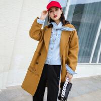 潮流韩版宽松字母印花毛呢大衣 秋冬新款时尚显瘦长款呢子外套女 卡其色