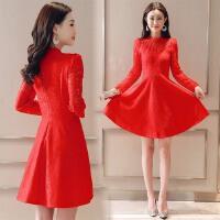 敬酒服新娘长袖2018春秋季新款结婚宴会晚礼服中式订婚红色连衣裙