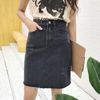 黑色牛仔半身裙夏季新款韩版百搭显瘦毛边高腰a字裙包臀中裙