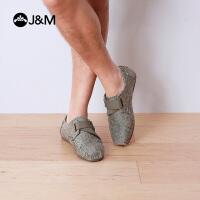 【低价秒杀】jm快乐玛丽夏季欧美复古休闲魔术贴格子布鞋男休闲鞋子