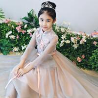 女童蓬蓬裙公主裙女童婚纱礼服中国风长袖花童礼服主持人钢琴演出