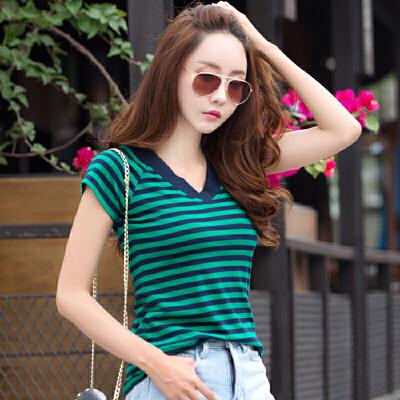 粗条纹鸡心领短袖t恤女夏季韩范V领修身显瘦半袖上衣服T恤衫潮