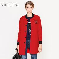 YINER音儿 冬装新款 时尚红色logo刺绣羊毛呢子大衣