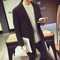 秋季新款妮子大衣男士毛呢中长款韩版修身西装领帅气风衣外套