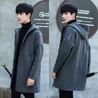 秋冬季呢子风衣男士中长款外套男韩版宽松加厚潮流帅气毛呢大衣男