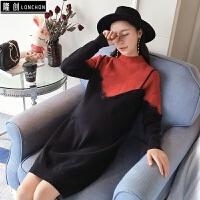 孕妇装秋装韩版时尚长袖上衣蕾丝孕妇毛衣宽松连衣裙打底衫孕妇裙