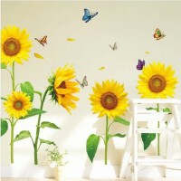 向日葵墙贴客厅电视背景墙壁贴纸墙画儿童房装饰餐厅柜子贴花贴画