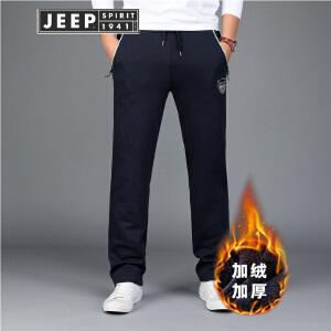 JEEP吉普运动长裤男装户外休闲加绒卫裤宽松休闲针织长裤