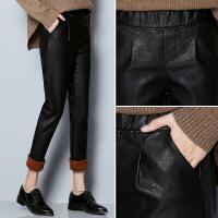 2017年冬季裤子高腰加厚九分裤黑色纯色气质修身显瘦 黑色