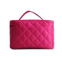 日韩式菱格化妆包手提包绗缝女士手提小镜子绣格纹收纳箱包洗漱化妆收纳包