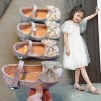 �和�公主女童皮鞋小女孩高跟鞋�����涡��底