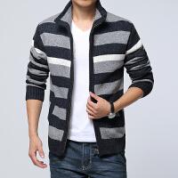 毛衣男修身男士开衫外套冬季加厚针织衫青少年条纹男装加绒毛衣男 3X