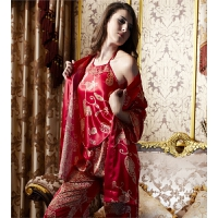 春秋新婚睡衣裙家居服蕾丝情侣款睡袍红色男女结婚丝绸套装浴袍夏 女320502 红色 (上衣+肚兜+裤子)