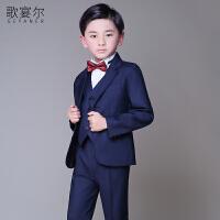 2018年儿童西服小西装花童礼服五件套装外韩版男孩钢琴演出服春夏