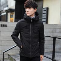 冬季羽绒服男士短款潮流韩版修身连帽青年休闲保暖学生白鸭绒外套