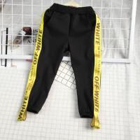 男女童运动裤 2018春款儿童潮松紧腰侧边黄色字母拼条长裤