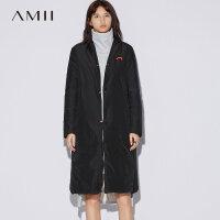 【到手价:476元】Amii极简欧货立领羽绒服女冬2018新90绒荧光撞色宽松长款修身外套